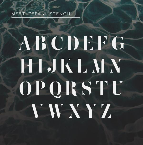 Zefani font letters