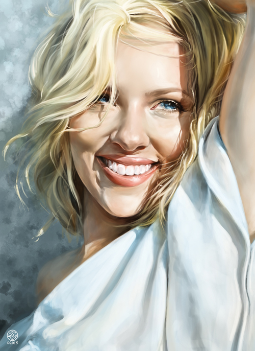 Scarlett Johansson Portrait Digital Art Illustration