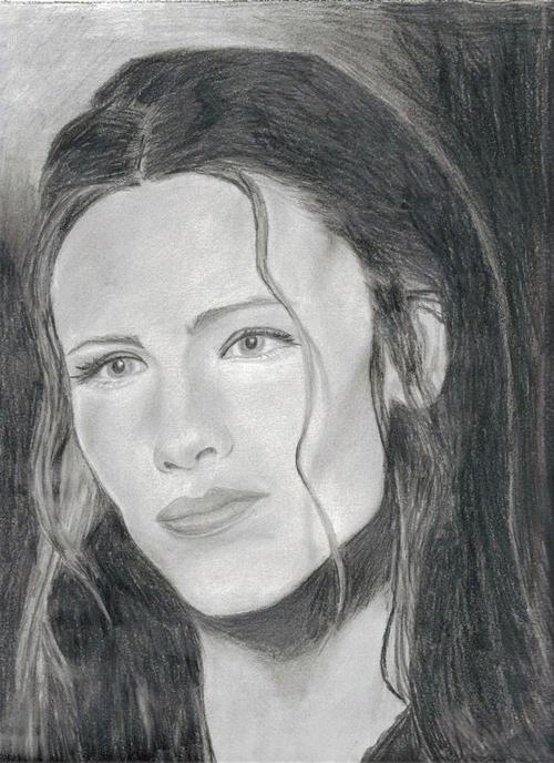 Jennifer Garner Pencil Drawing Portrait by Catherine Longi