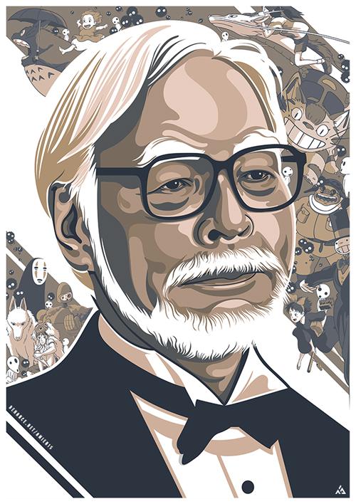 Portrait Illustration of Hayao Miyazaki by Amien Juugo