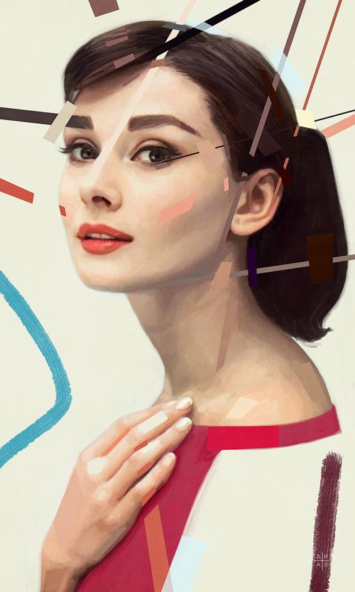 Audrey Hepburn Portrait Digital Art by Ástor Alexander