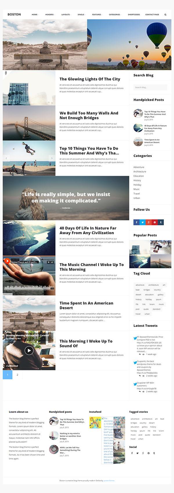 Boston - Urban Responsive WordPress Blog Theme