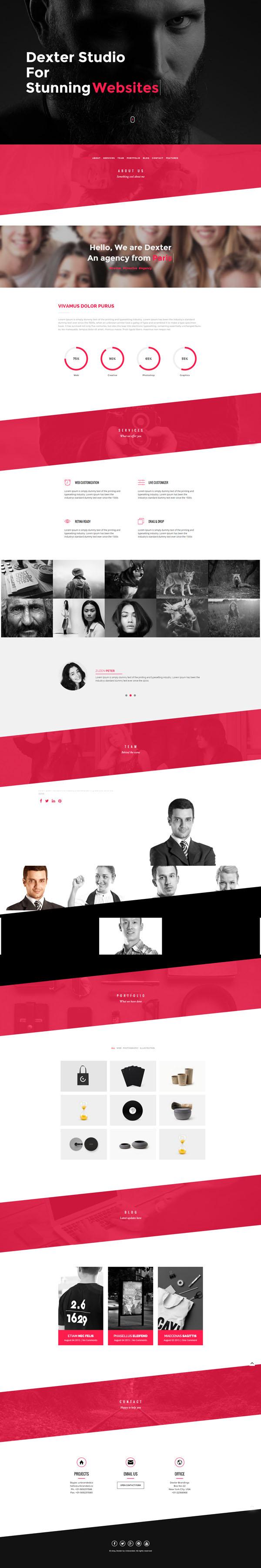 DEXTER - Multipurpose One Page Slant WP Theme