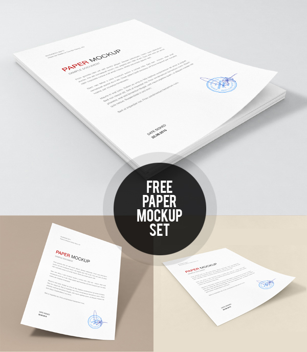Free Paper Mockup Set PSD