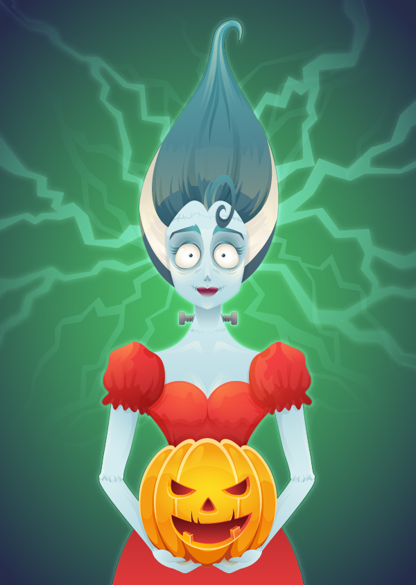 Create Bride of Frankenstein for Halloween Day in Adobe Illustrator