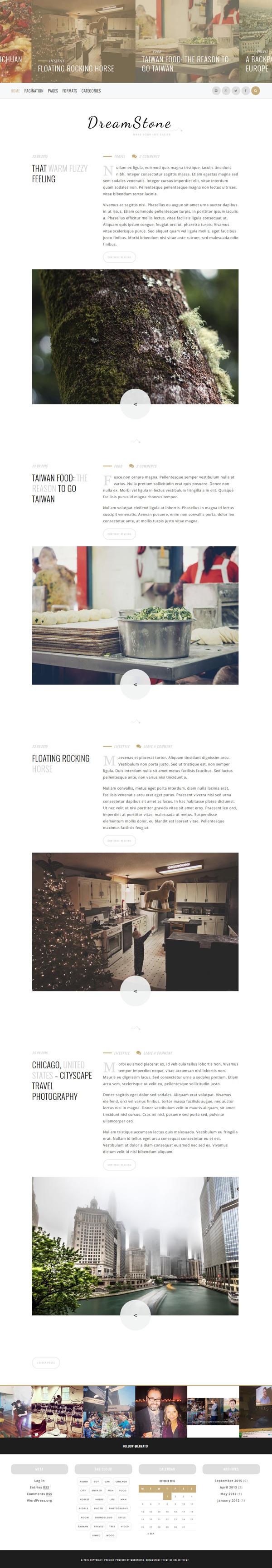 DreamStone - Personal WordPress Blog Theme