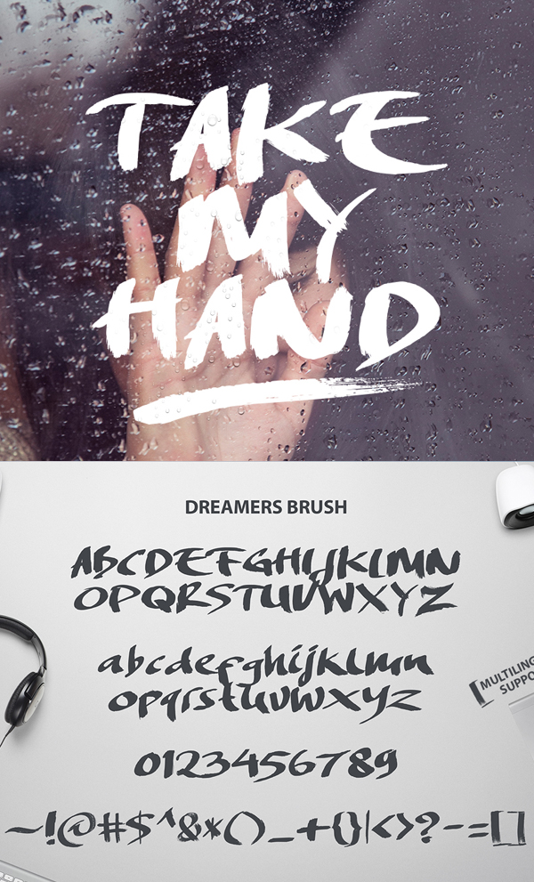 Dreamers Brush Font Letters and Numbers