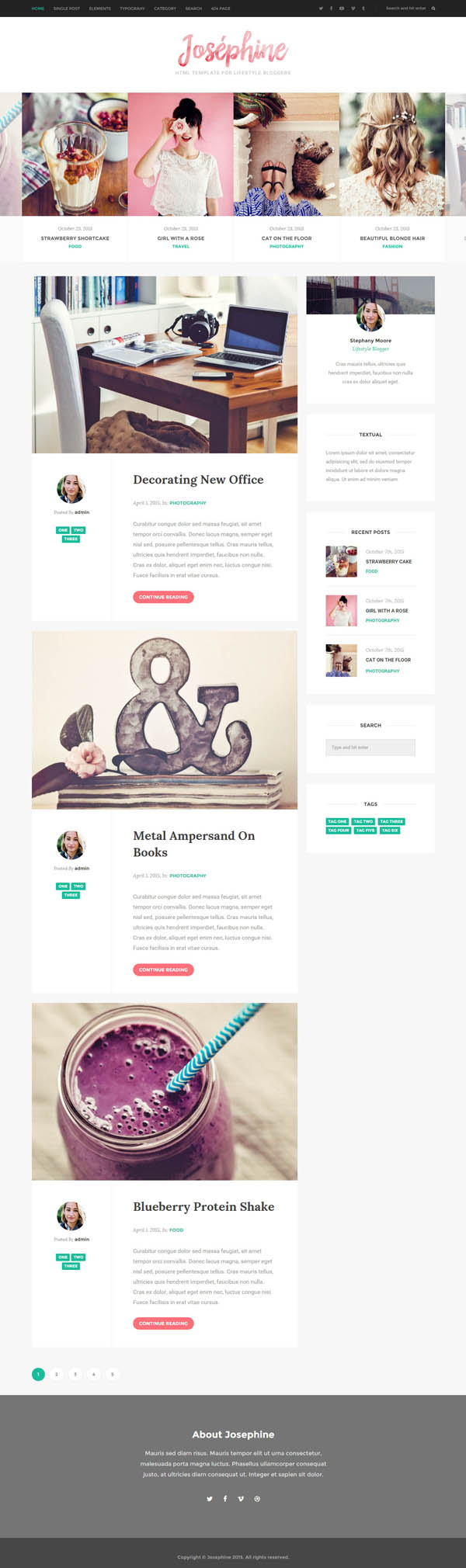 Josephine - HTML Template For Lifestyle Bloggers