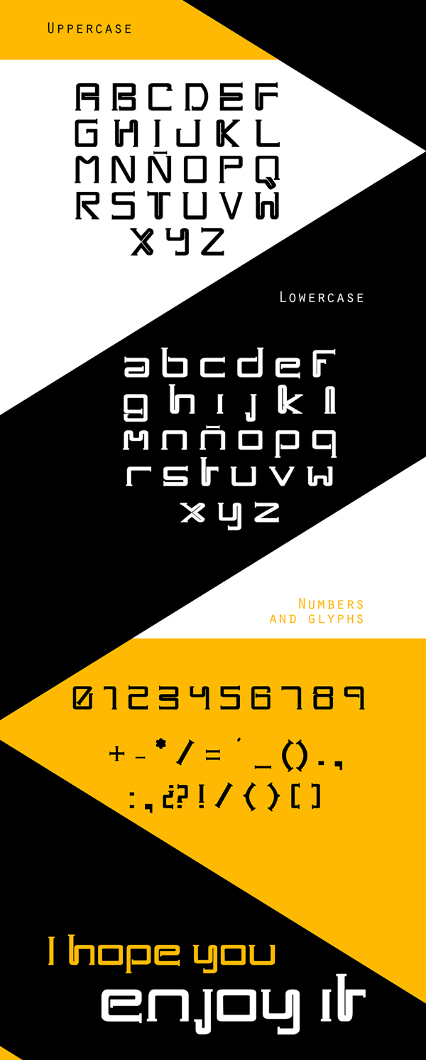 One Way Font Letters and Numbers