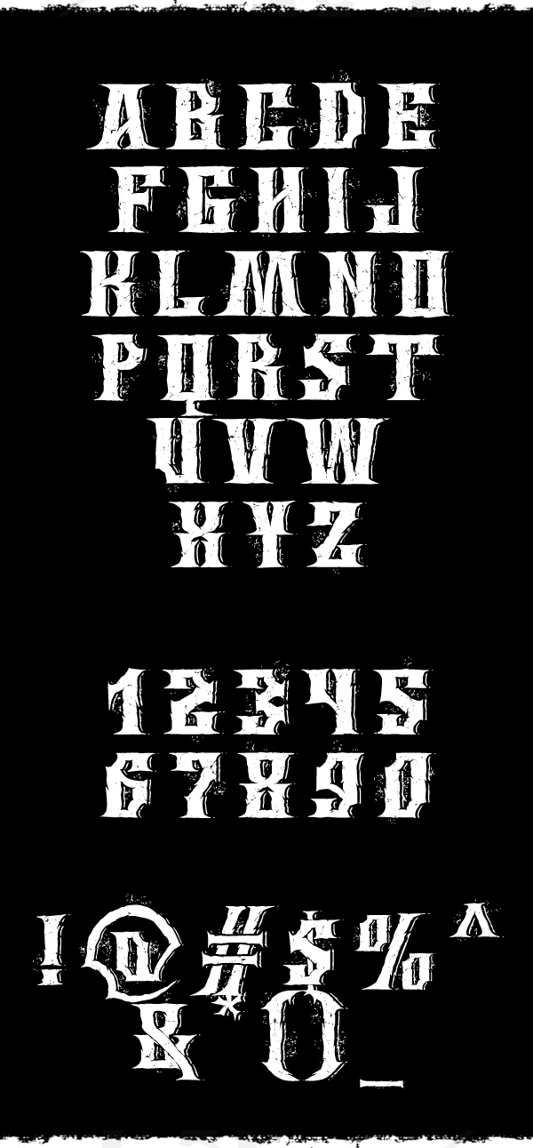 Wings of Darkness Font Letters and Numbers