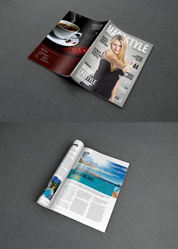 Free Photorealistic Magazine MockUp PSD