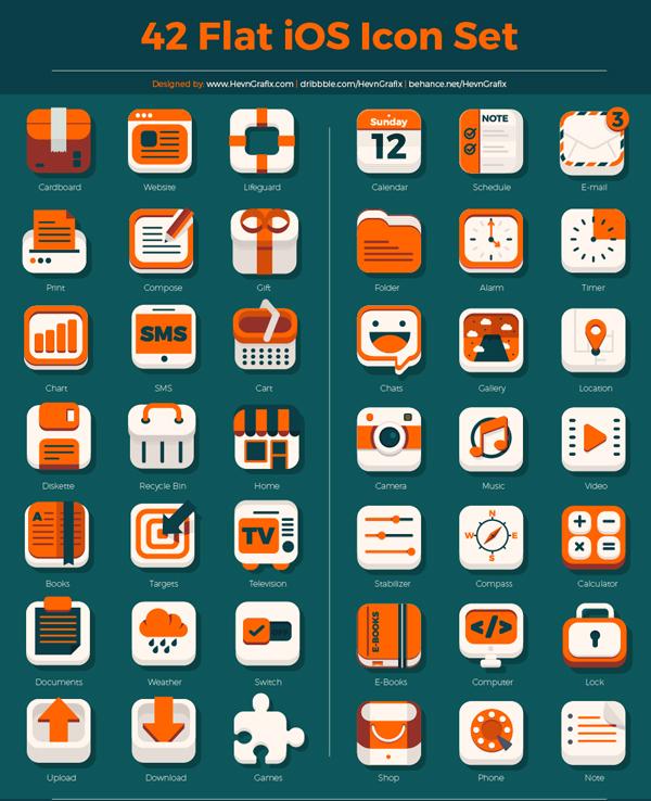 Free Flat iOS Icon Set (PSD, AI) - 42 Icons