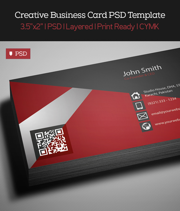 Free Creative Red Business Card PSD Template - 1