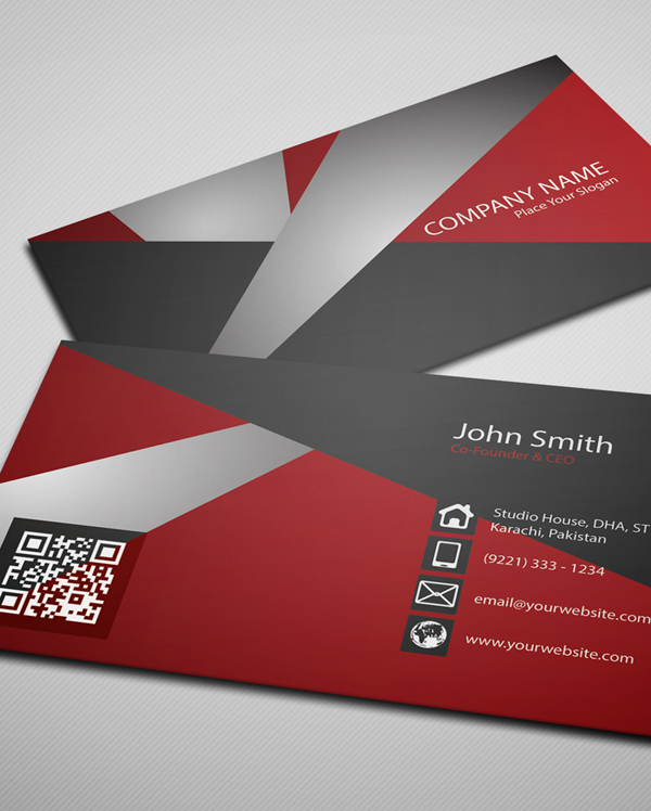 Free Creative Red Business Card PSD Template - 2