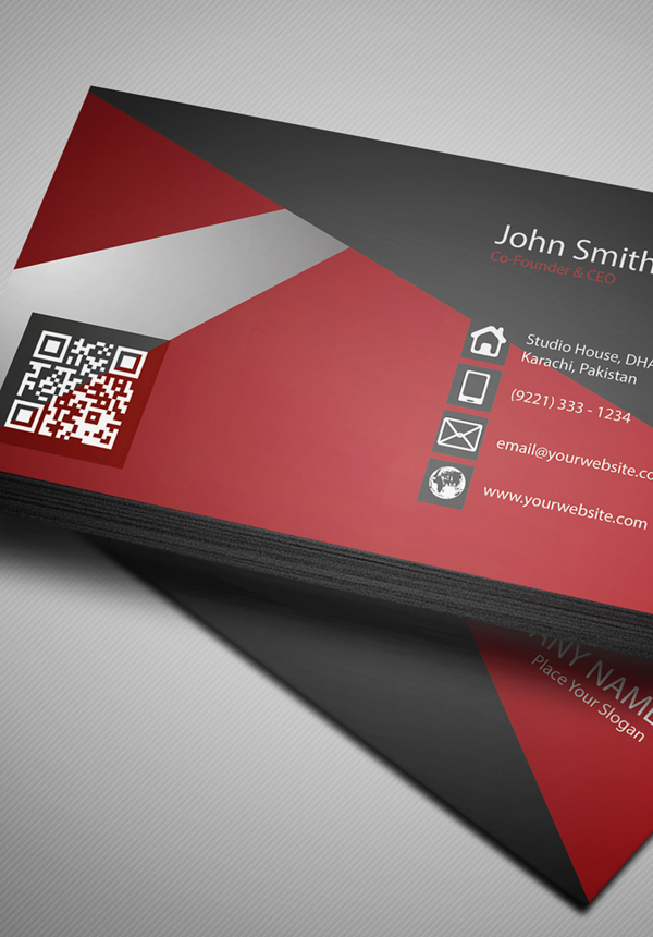 Free Creative Red Business Card PSD Template - 4
