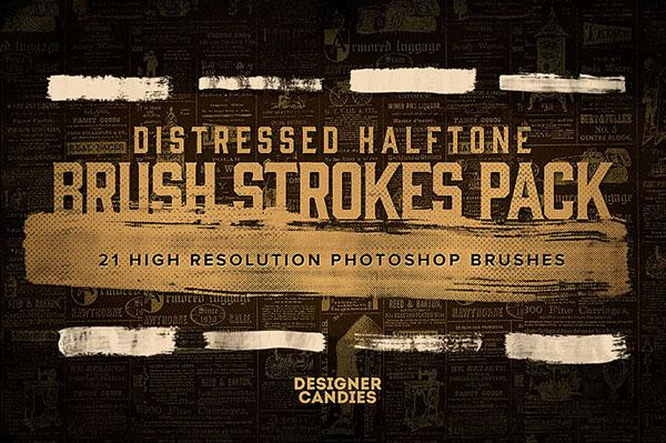 Free Distressed Halftone Brush Strokes