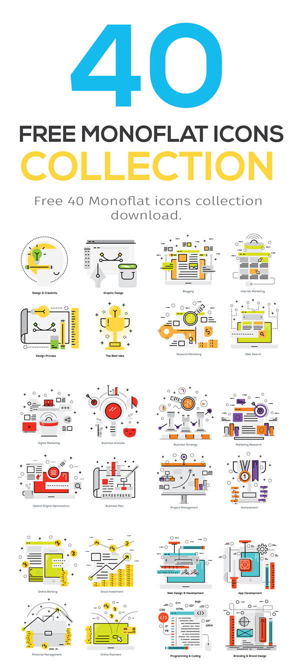 Free 40 Monoflat Icons Collection by Kan Kingpetcharat
