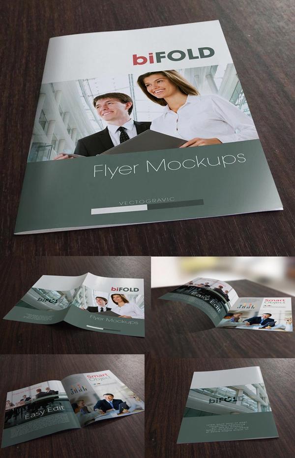 Free Photoshop Bifold Flyer Mockup PSD