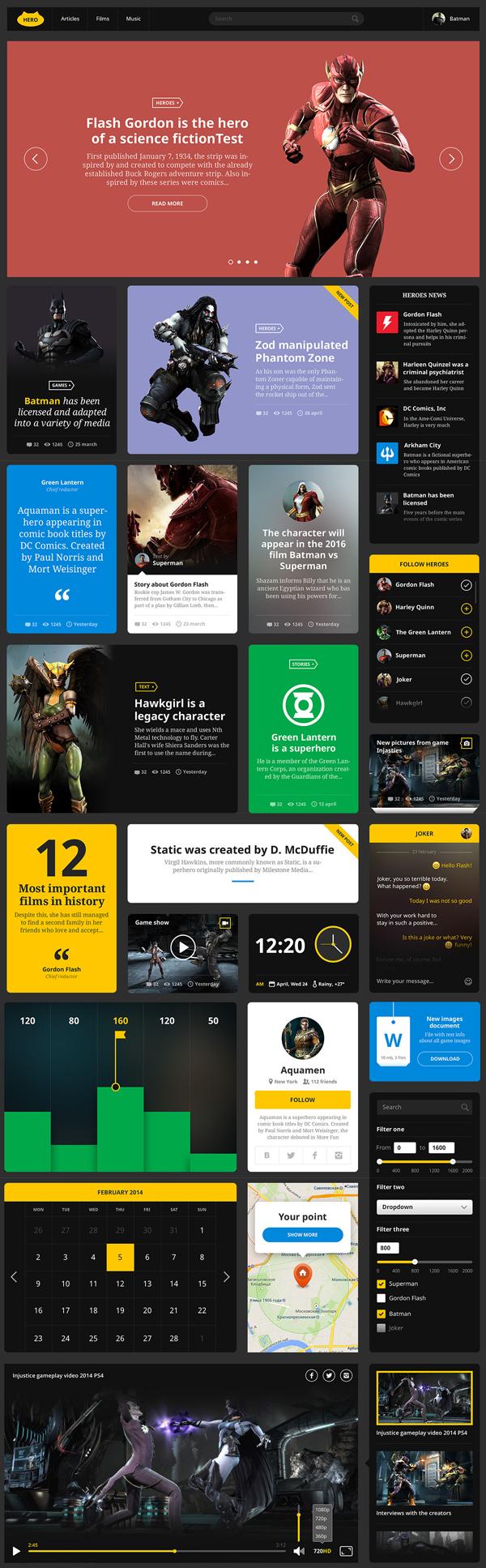 Free Hero UI Design Kit PSD