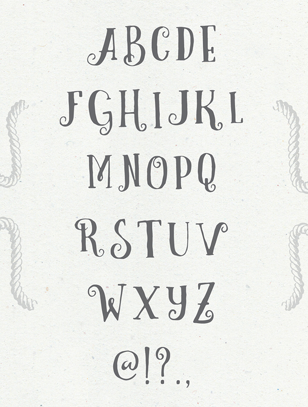 Curely Font Letters