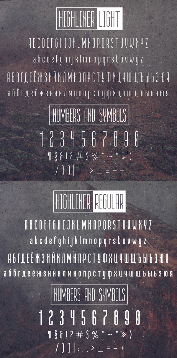 Highliner Font Letters and Numbers