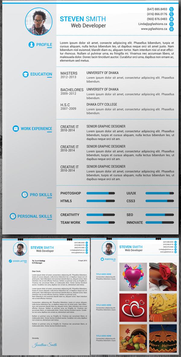 Free Resume, Cover Latter, Portfolio PSD Template