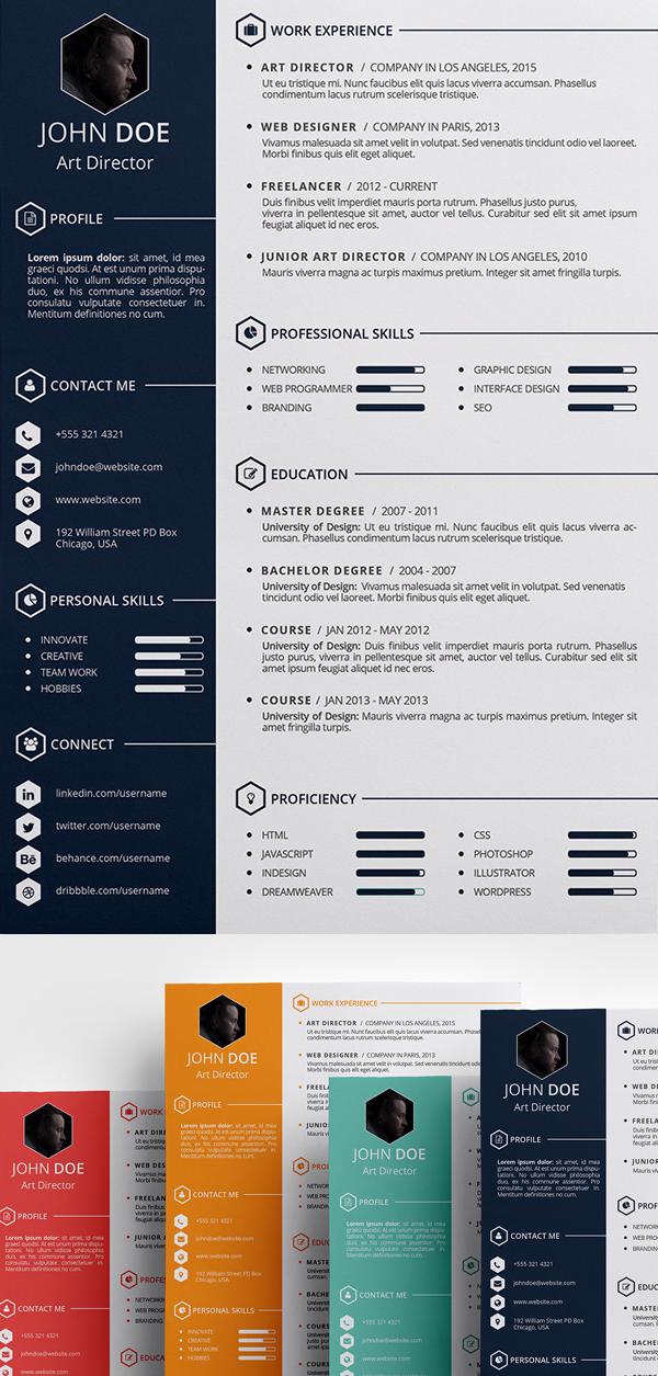 Free Creative Resume Template (PSD, ID)