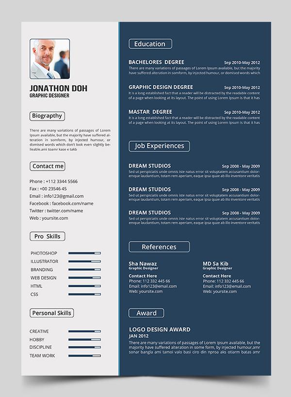 Free Resume PSD Template (PSD)