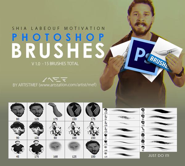 Free Shia LaBeouf Motivation Photoshop Brushes