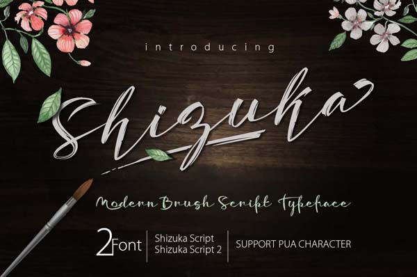 Free Shizuka Brush Script lovely Brush Script typeface