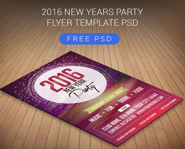 Free 2016 New Years Party Flyer PSD Template
