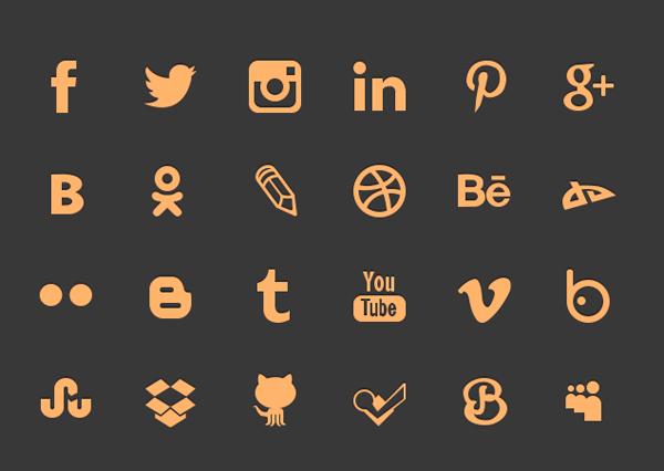 Free 100% Shape Social icons PSD
