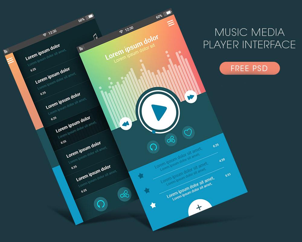 Free Music Media Player App Interface PSD