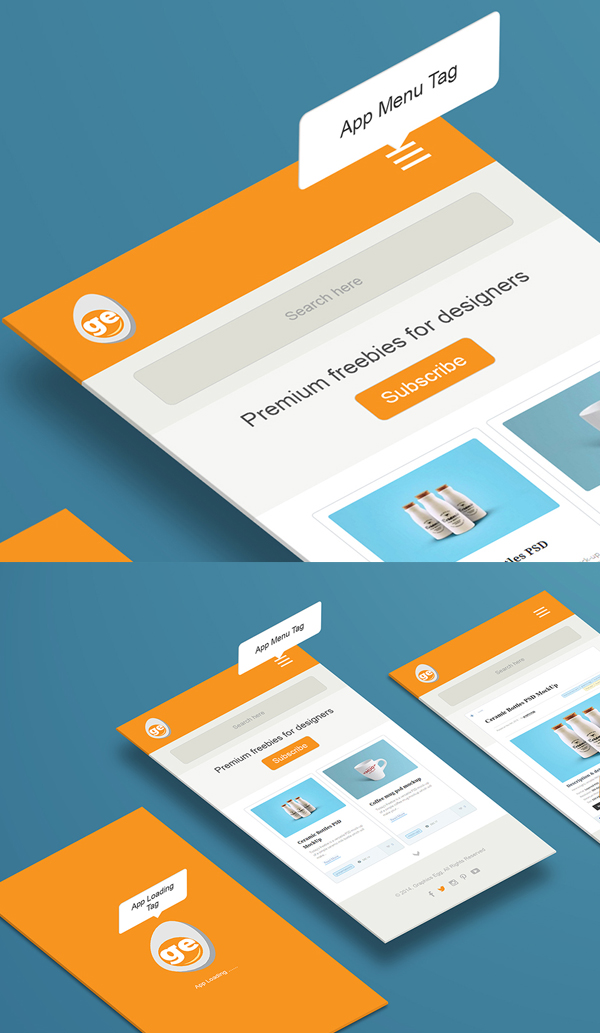 Free PSD Perspective App Mockups