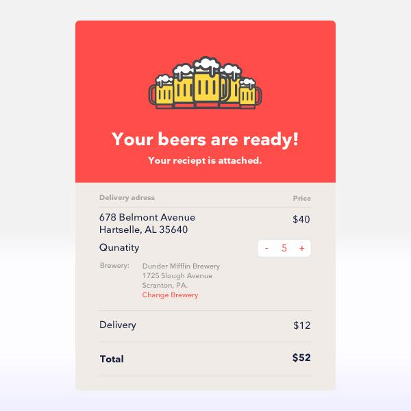 Free Creative Email Recipt UI Template