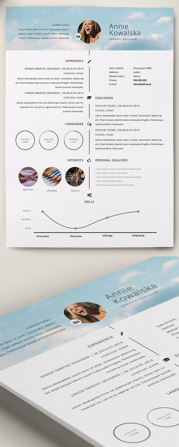 Free Minimalistic Resume/CV Timeline Template