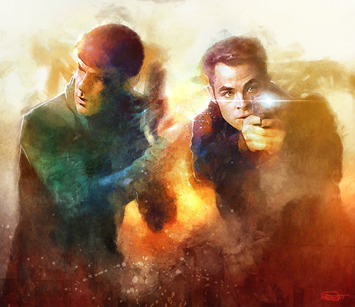 Kirk and Spock Illustration by Daniel Murray