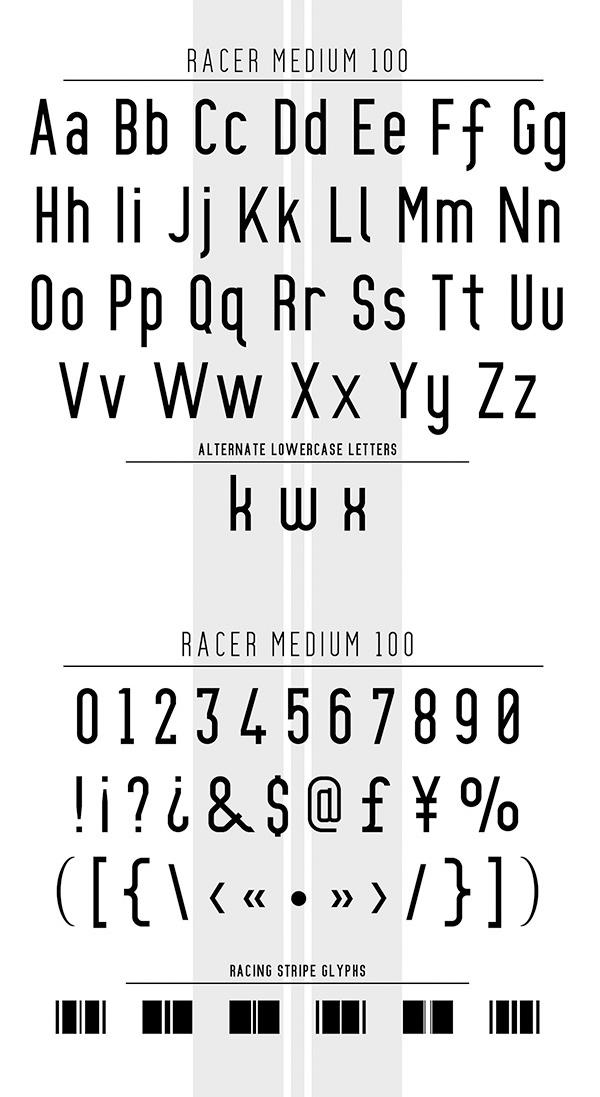 Racer Font Letters