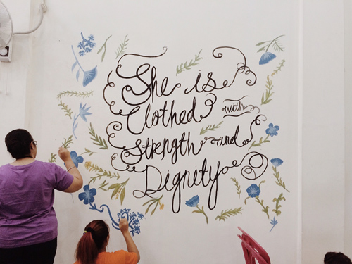 Strength & Dignity handwriting lettering