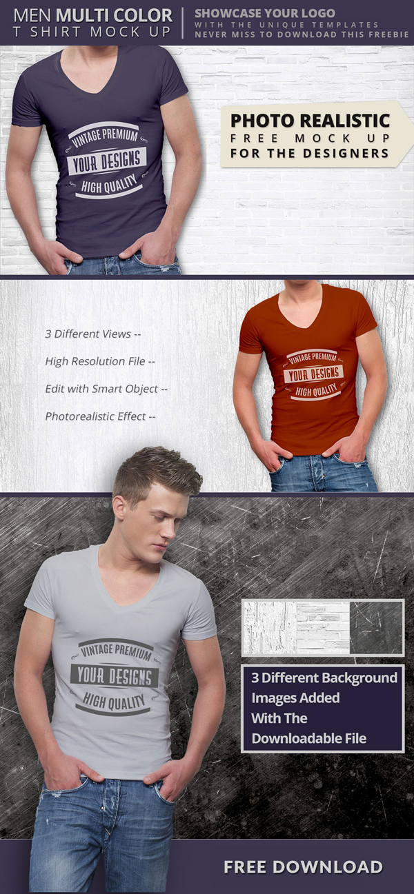 Free T shirt Mock Up PSD Templates For Designers