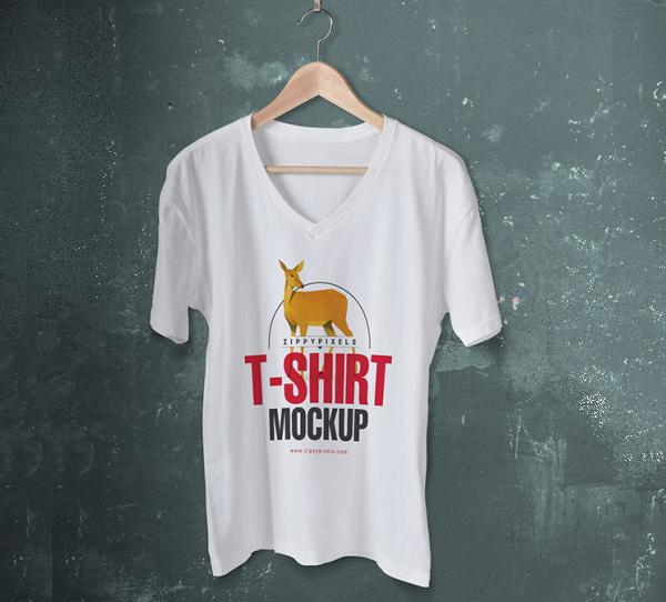 Trendy Free V-Neck T-Shirt Mockup