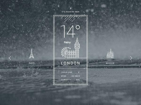 Free Weather UI PSD Design