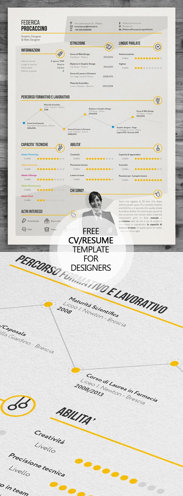 Free Creative Freelancer Designer Resume Template (PSD)