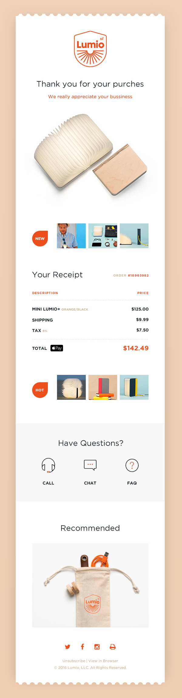 Free Email Receipt PSD UI Template