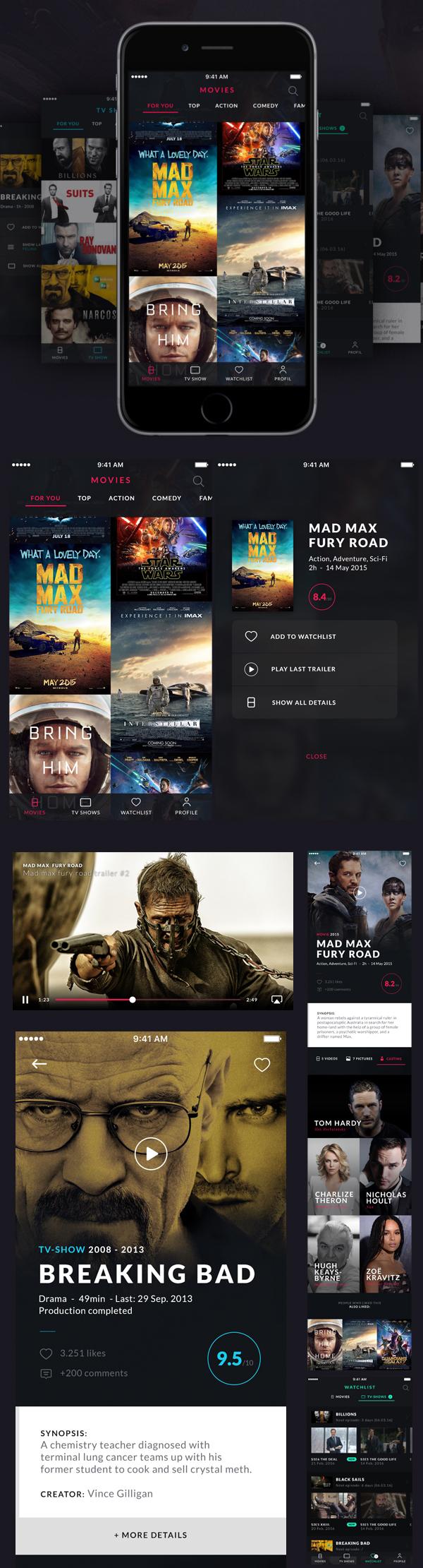 Free Modern and Clean iOS movie App UI Kit