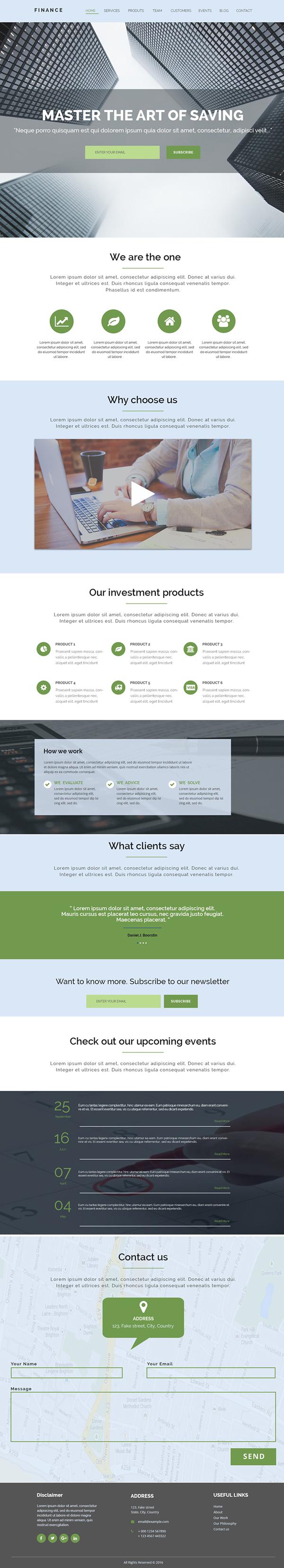 Financial Theme Website PSD Template