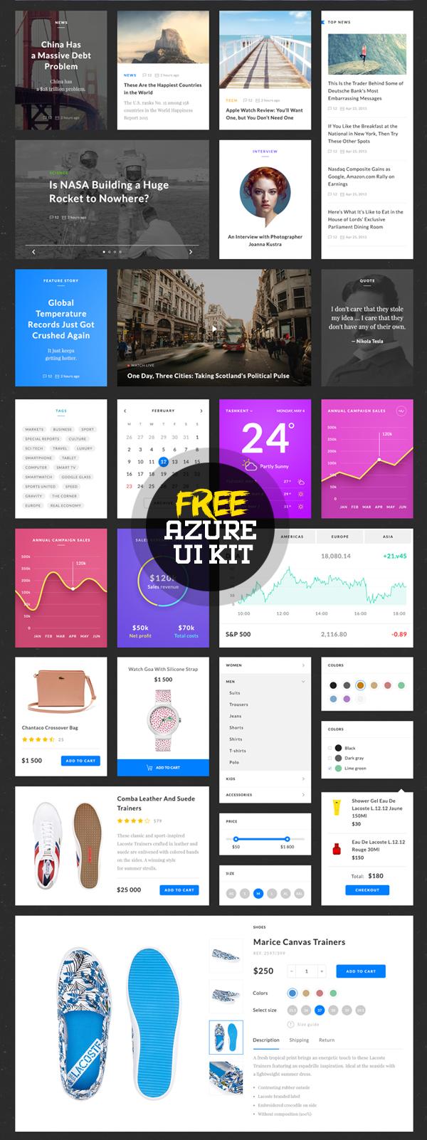 Free Azure UI Kit PSD