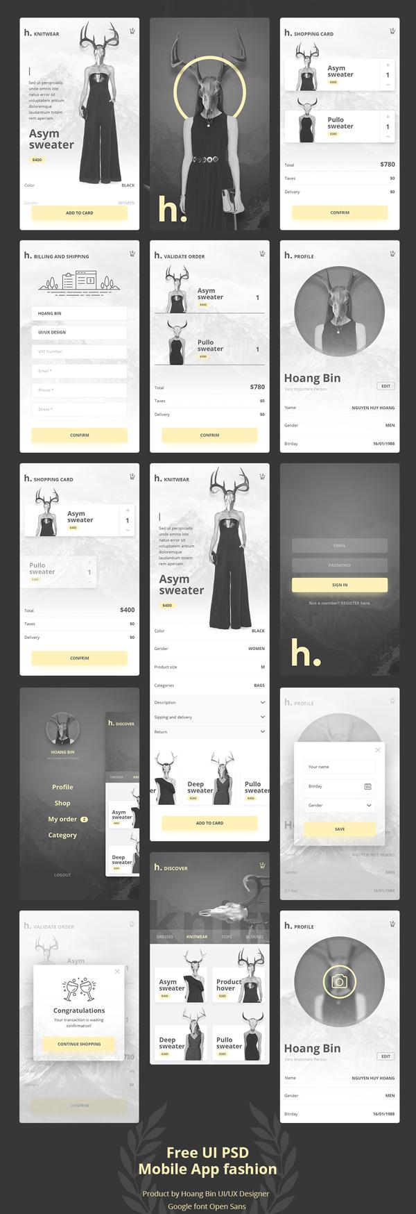 Free UI PSD Mobile App Fashion & Ecommerce ver 2.0