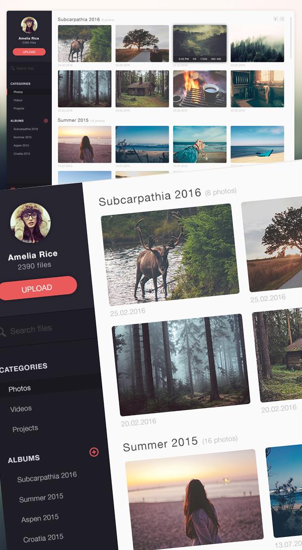 Free Photo Management App Design PSD Template
