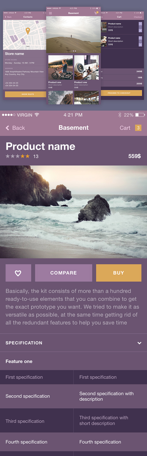 Beautiful Free Kit iOS. Sketch And Psd